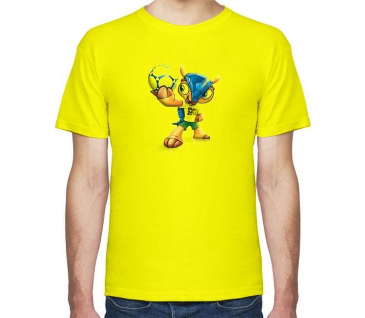 футбольная желтая футболка с принтом