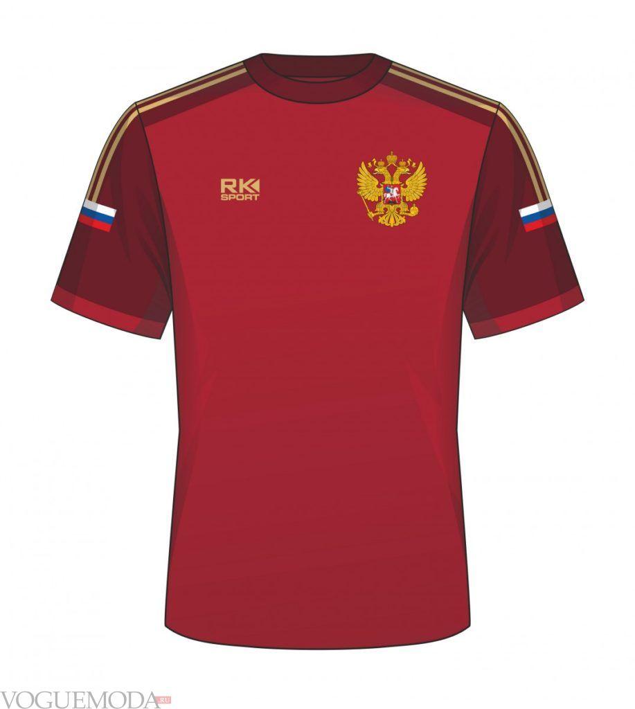 бордовая футбольная футболка