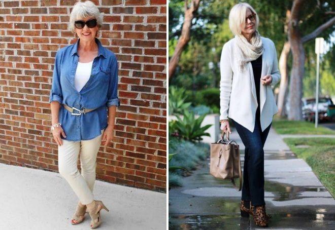 брюки белые под катоновую рубашку джинсы синие под жакет белый