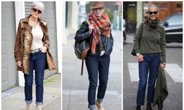 джинсы по косточку синие под пальто кожаную куртку свитер