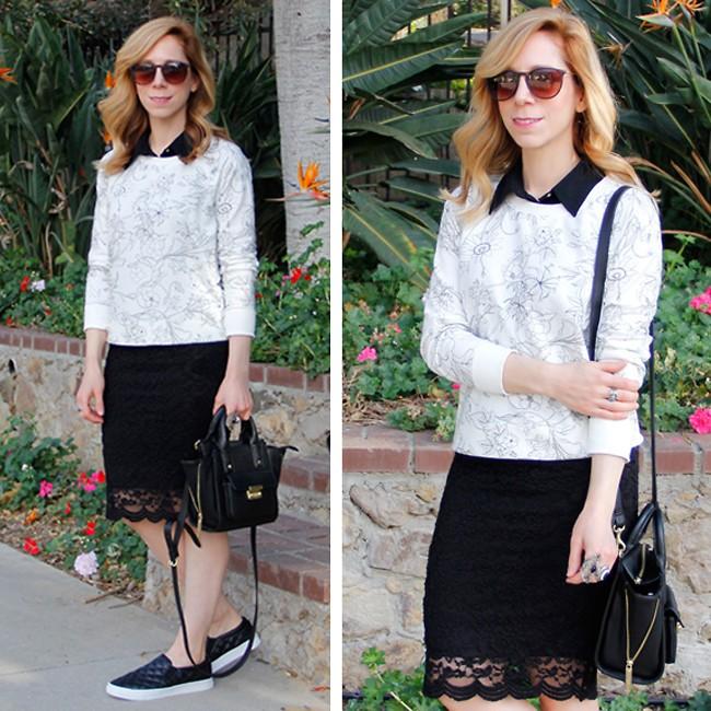 юбка черная с ажурным низом блузка белая с черным воротником для женщин после 50 лет