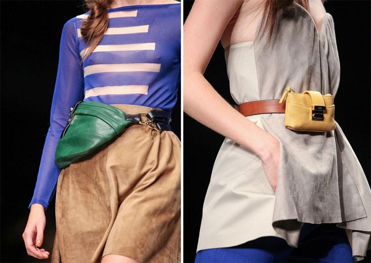 сумки на пояс зеленая кожаная желтая маленькая