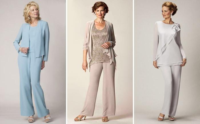 брючные костюмы голубой бежевый серый для женщин после 50 лет