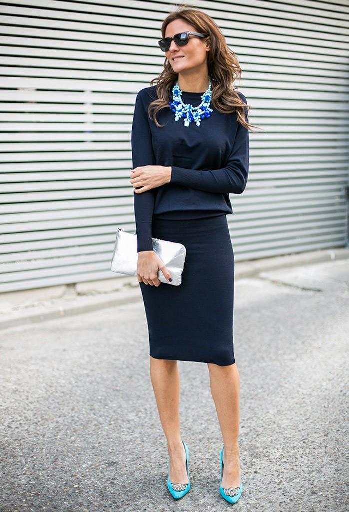 костюм юбка жакет синие