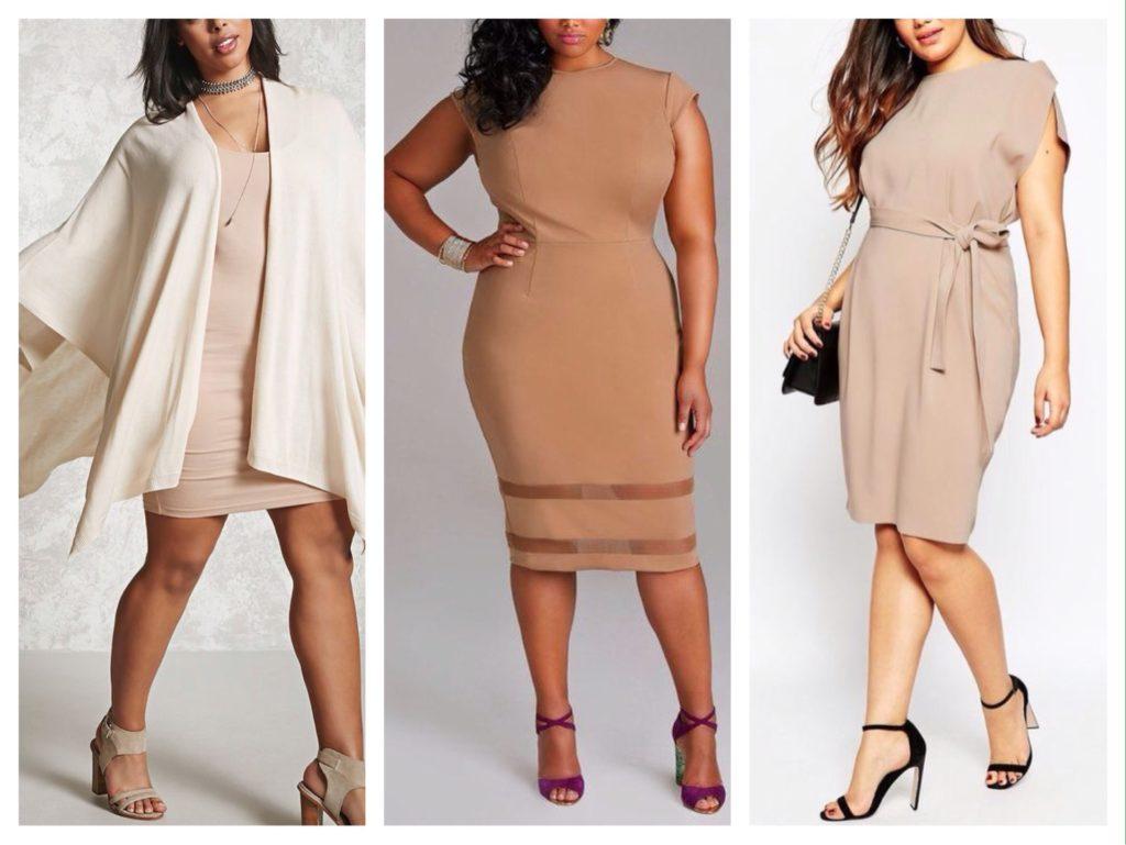 образы для полных бежевое платье