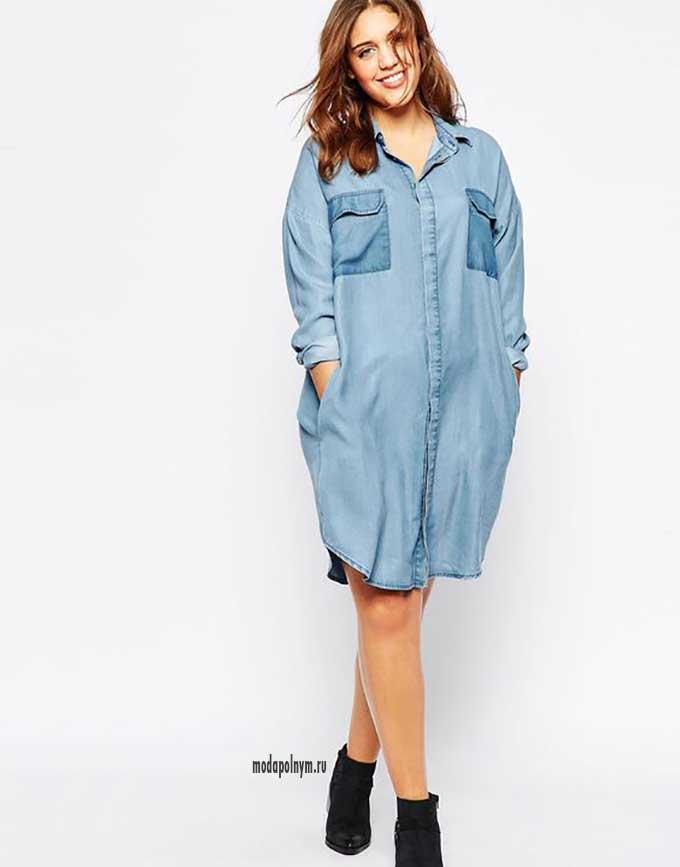 Джинсовое платье рубашка в стиле оверсайз для полных