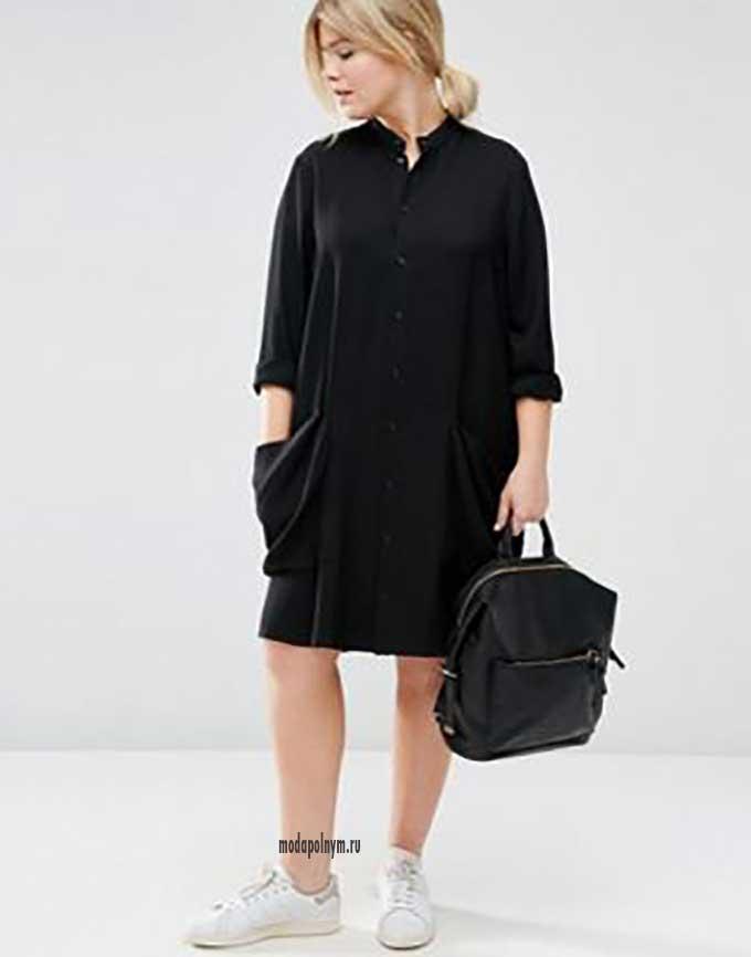 Платье рубашка в клетку в стиле оверсайз полным женщинам