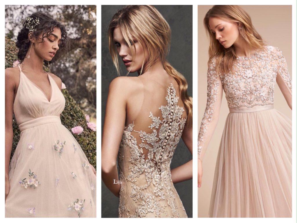 свадебные образы с платьем беж