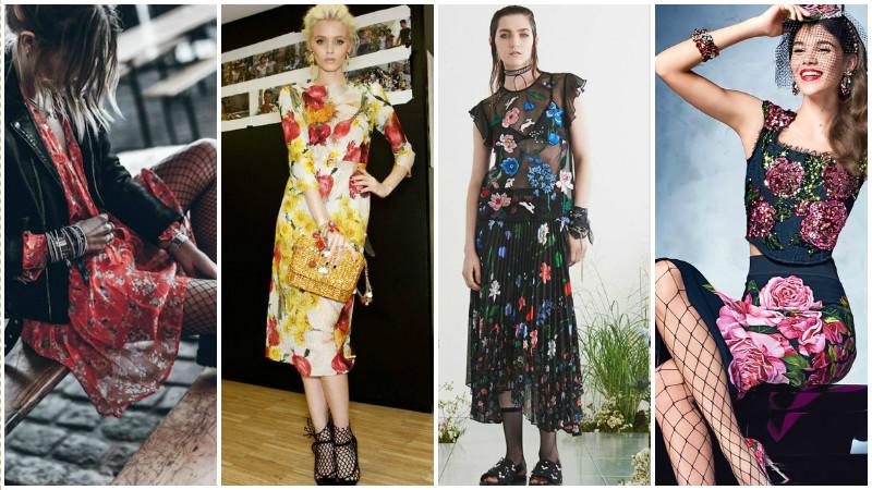 Модели в платьях с цветочным принтом и чулках и носках в сеточку