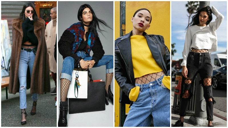 Девушки в колготках в сетку с джинсами