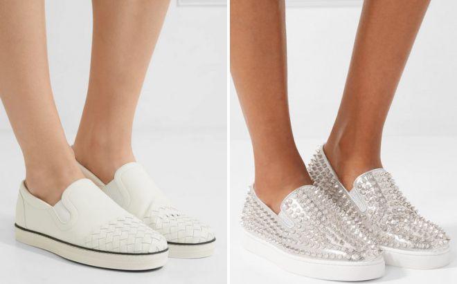 модные белые кеды