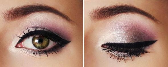 фиолетовые тени карие глаза