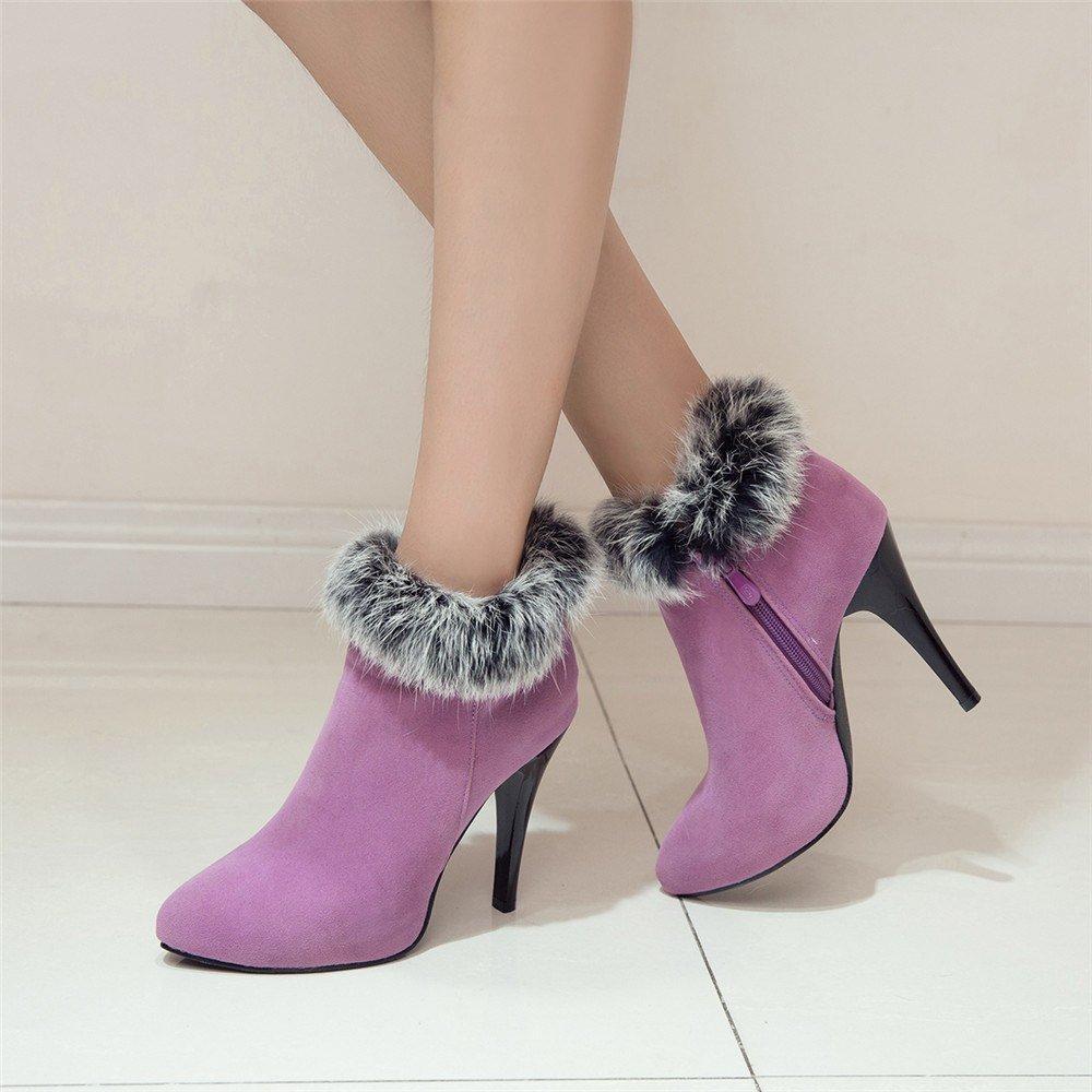 Фиолетовые ботинки с мехом