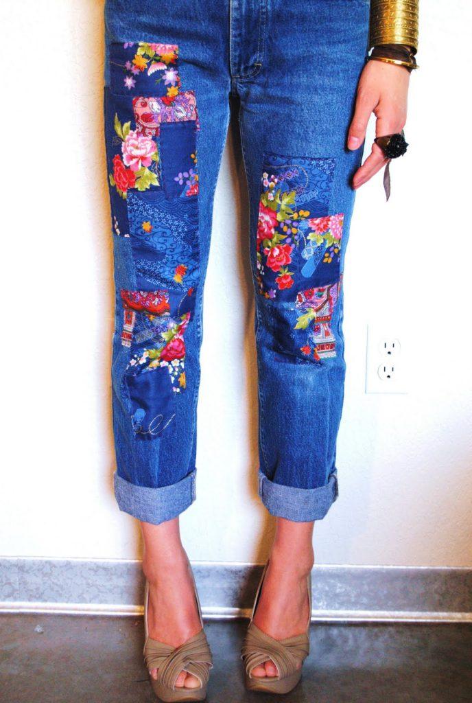 Украшение брюк тканью