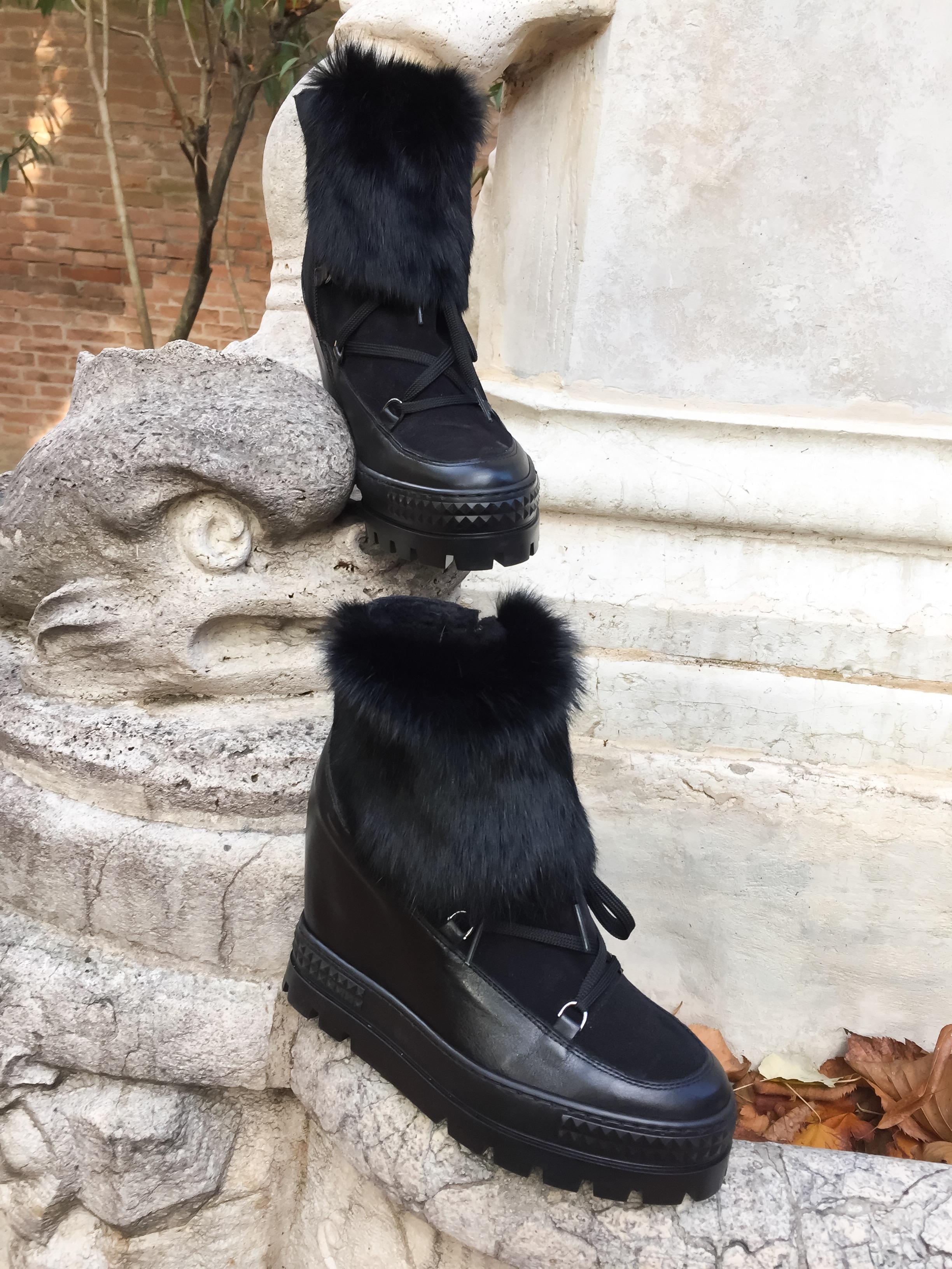 Ботинки с мехом комбинированные