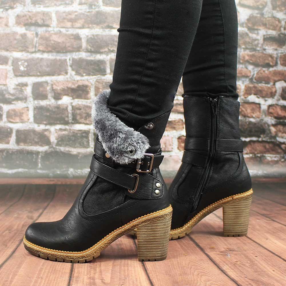 Ботинки с мехом из кожи