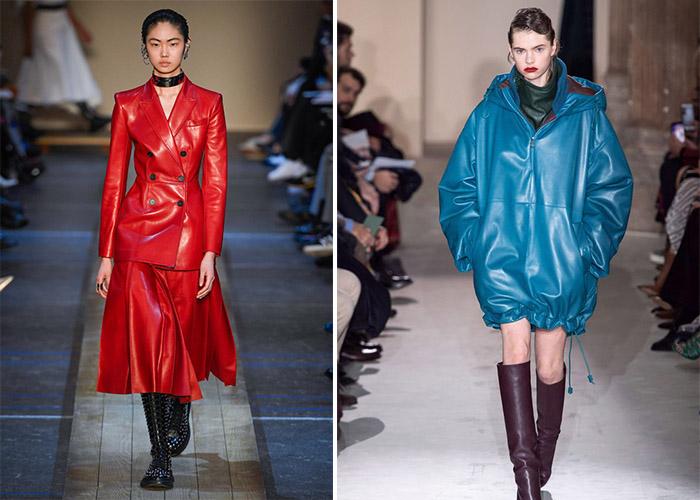 Как носить яркую кожаную одежду