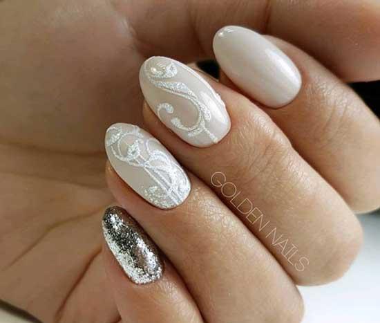 Зимние красивые вензеля на ногтях
