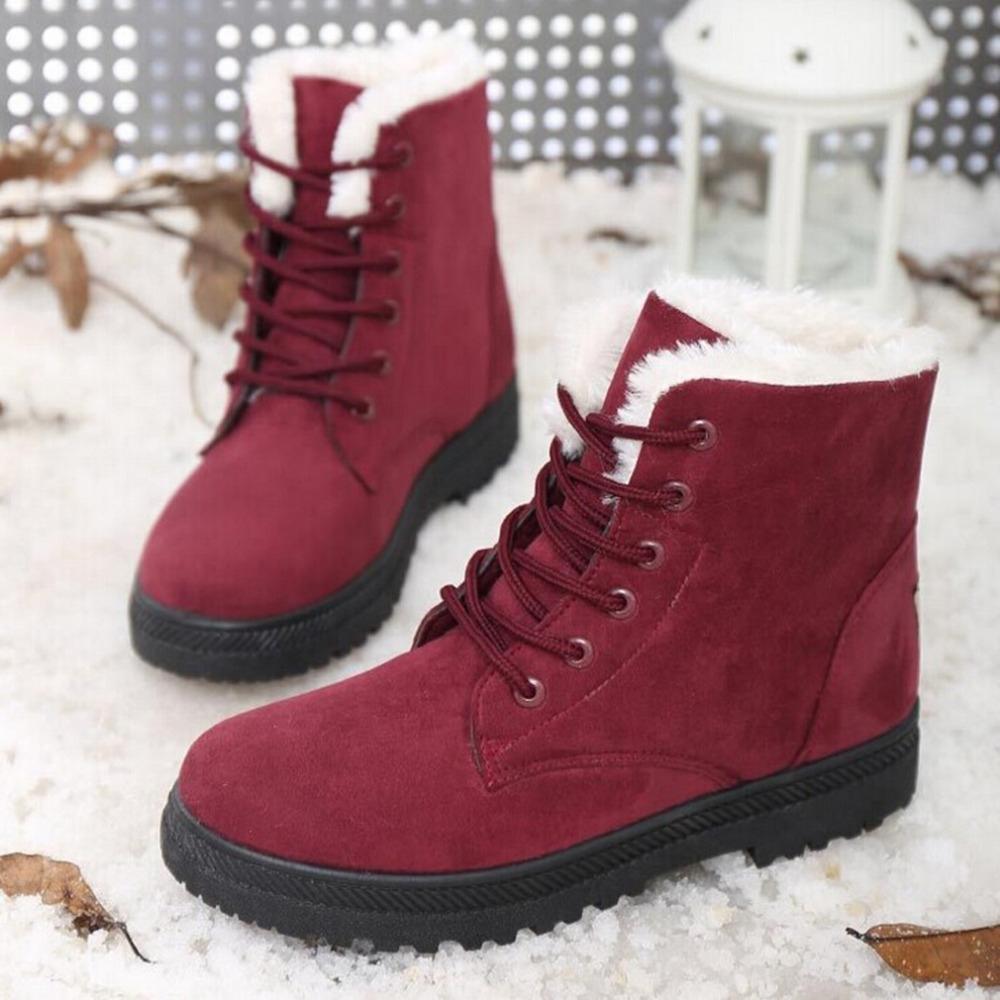 Красные ботинки с мехом