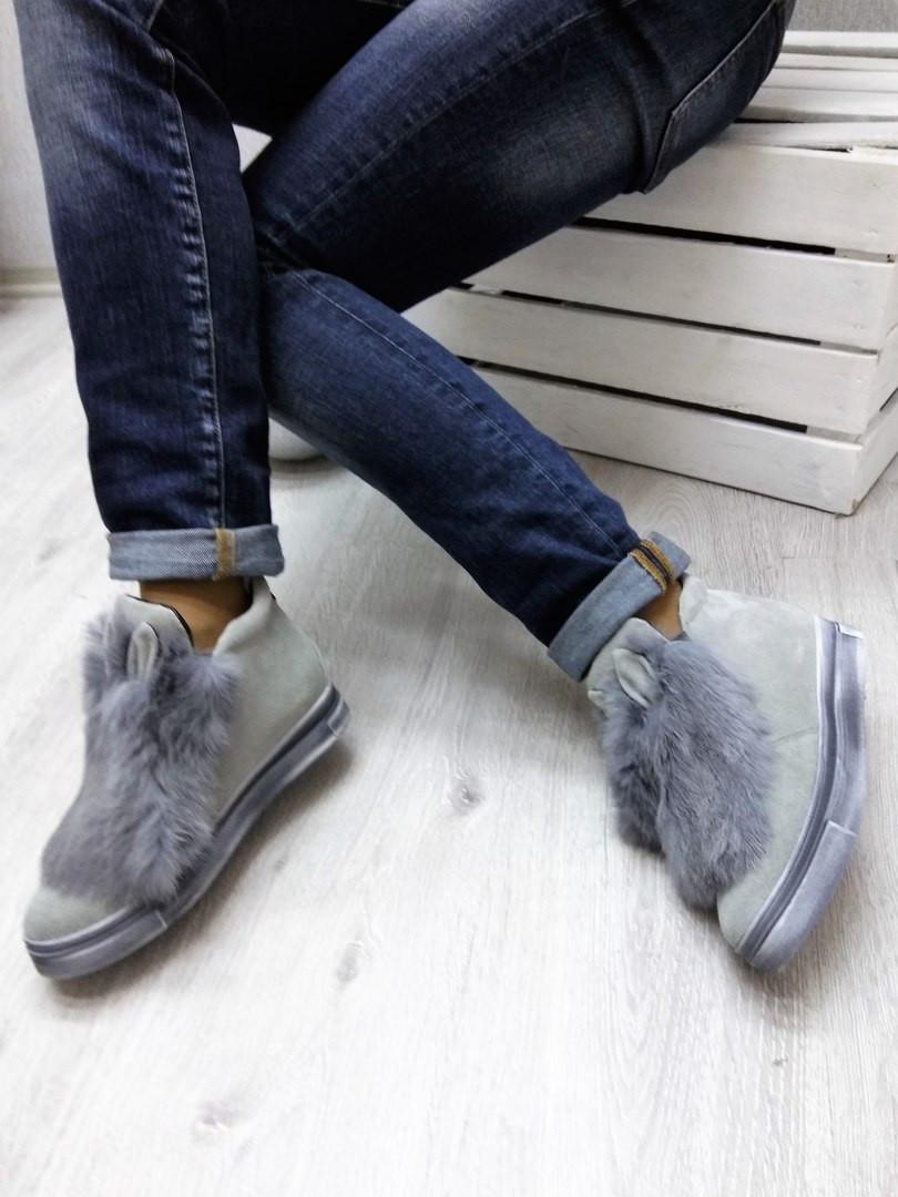 Ботинки с мехом кролика