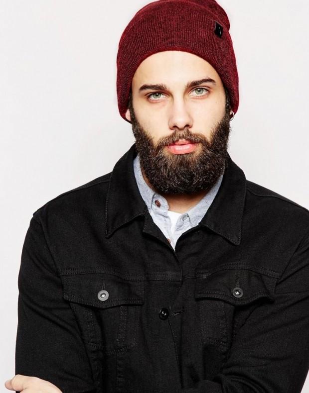 мужские головные уборы зима 2019-2020: шапка бини бордовая