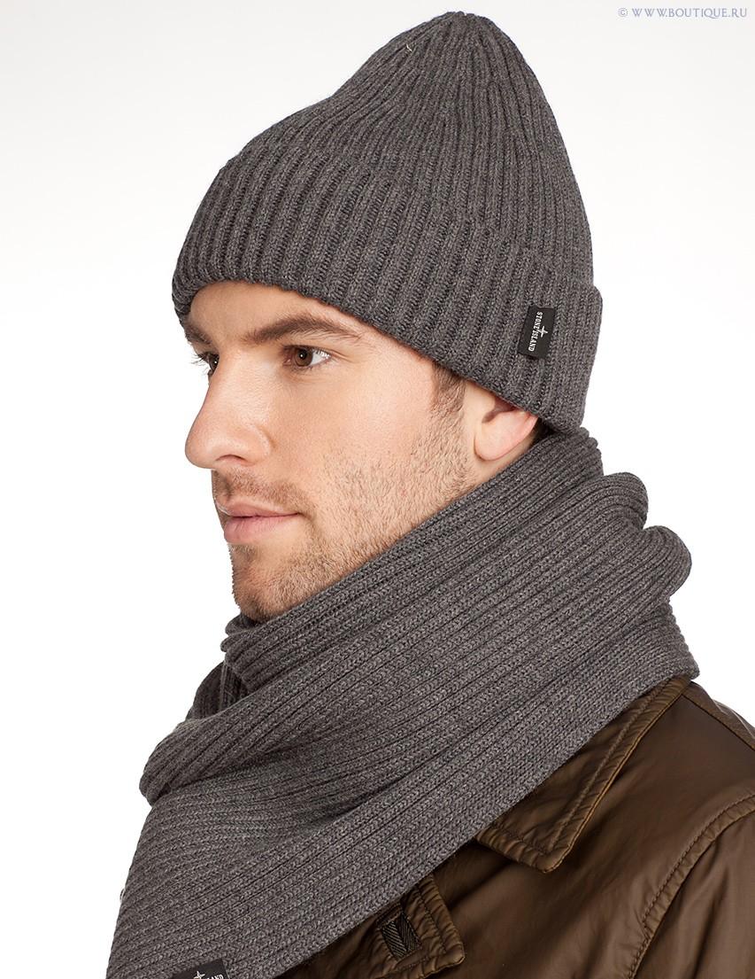 мужские головные уборы зима 2019-2020: вязанная шапка серая