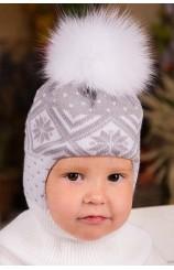 """Шапка шлем """"Дина"""" (белая)"""