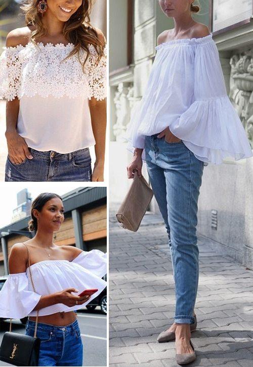 Белые блузки с открытыми плечами