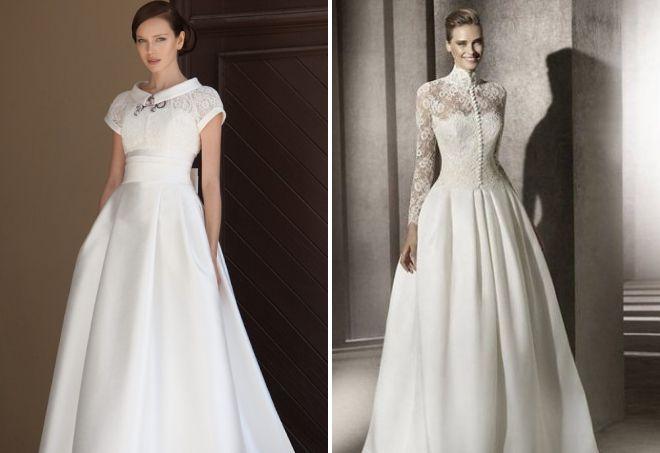 свадебное платье с воротником стойкой