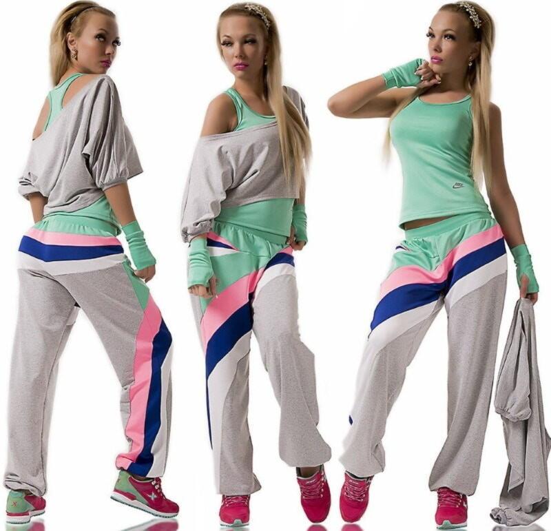 топ и штаны свободного кроя для активного спорта