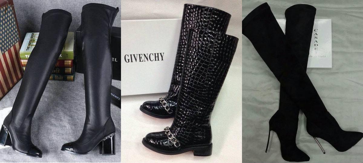 модные черные ботфорты