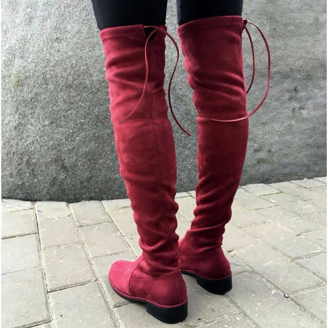 замшевые ботфорты с завязками