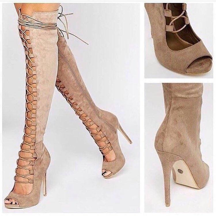 ботфорты с открытым носком на завязках