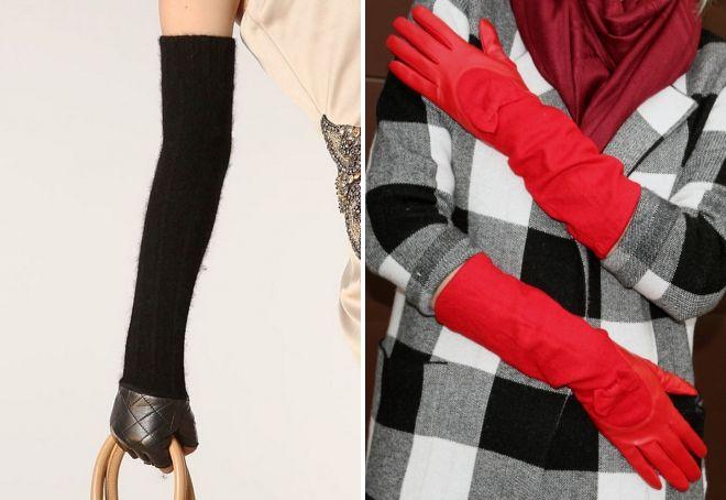 длинные шерстяные перчатки