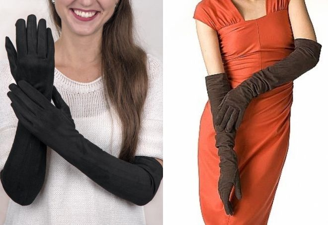 длинные замшевые перчатки