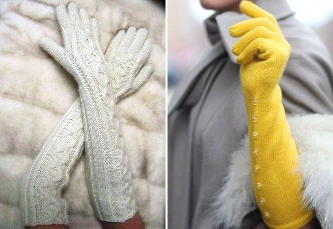 длинные вязаные перчатки