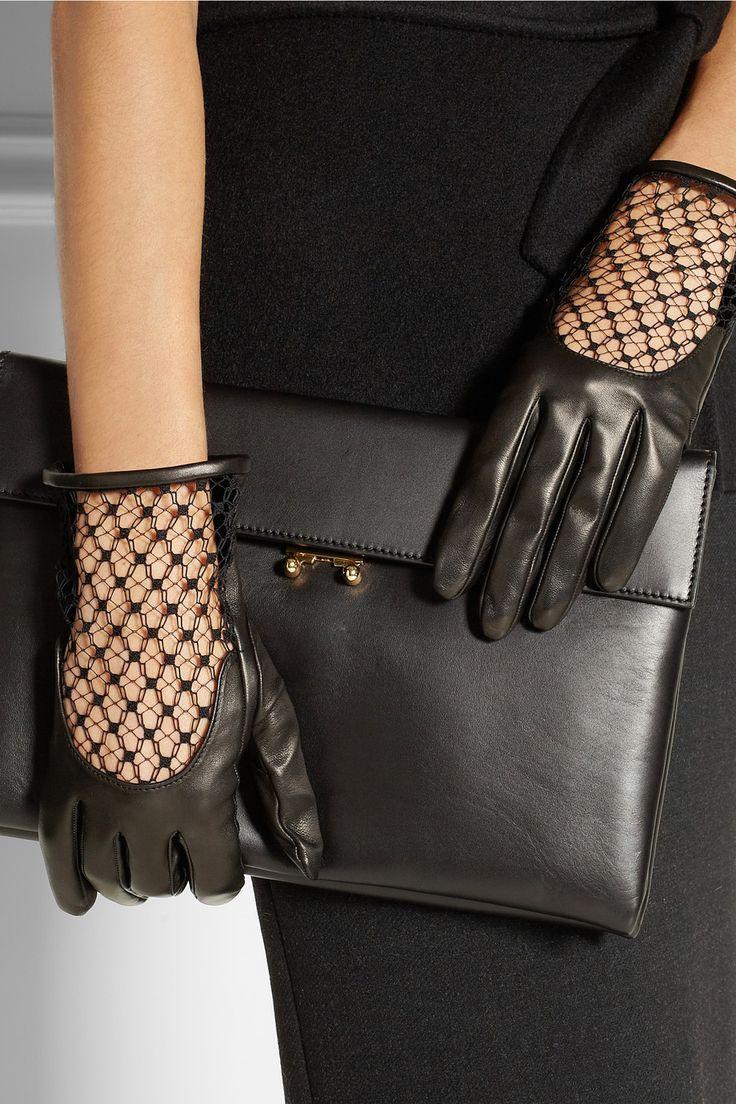 Кожаные перчатки с кружевом