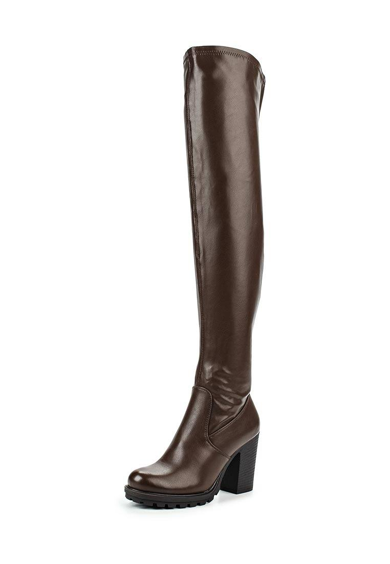 коричневые ботфорты на каблуке