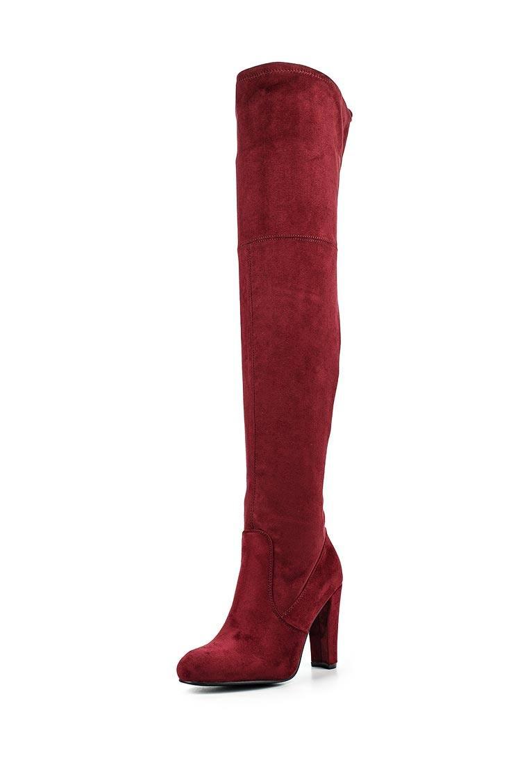 красные ботфорты на каблуке