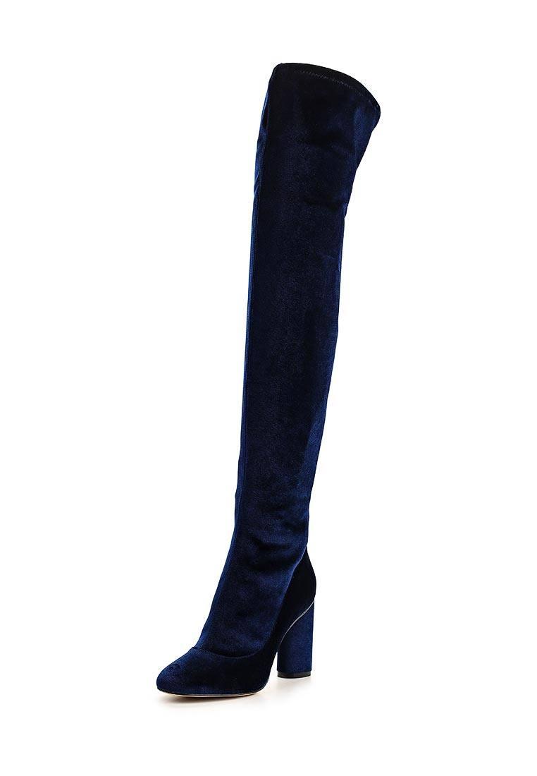 замшевые синие ботфорты