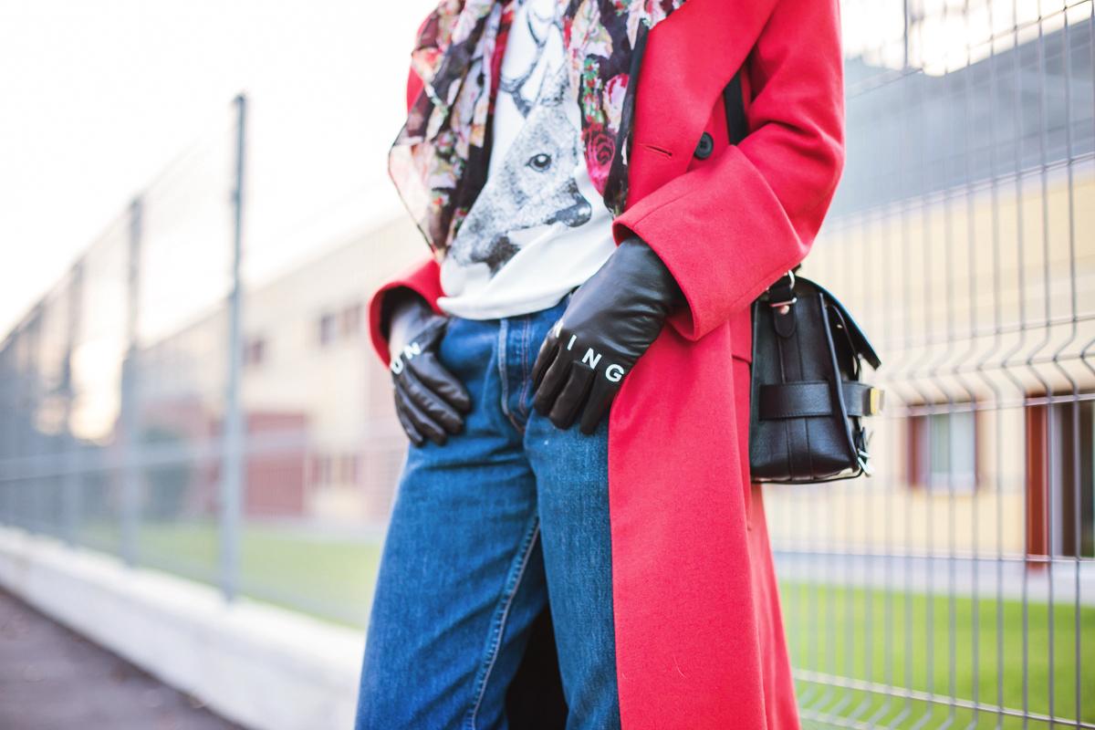Кожаные перчатки с надписью