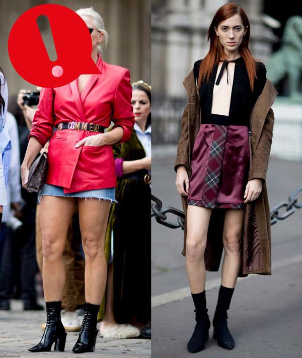 Девушки в мини юбках и черных ботильонах