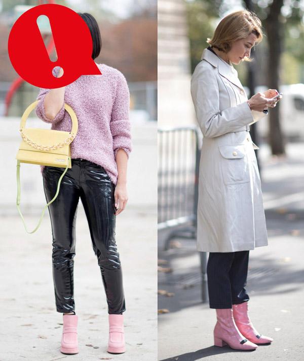 Девушки в розовых ботильонах на низком тонком каблуке