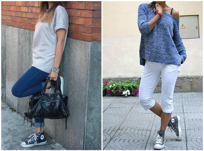 Уличный стиль с кедам из джинсы