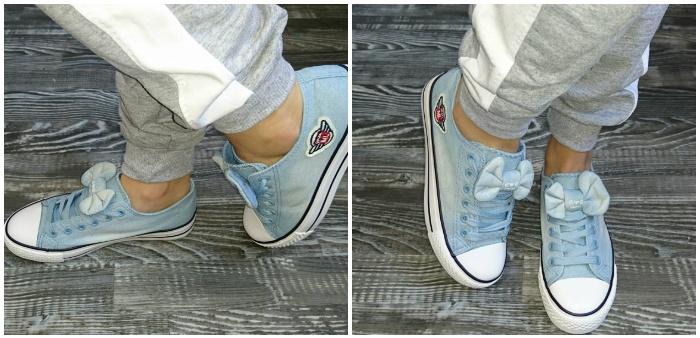 Джинсовые кеды с бантиком на ногах