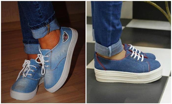 Джинсовые кеды с подвороченными джинсами