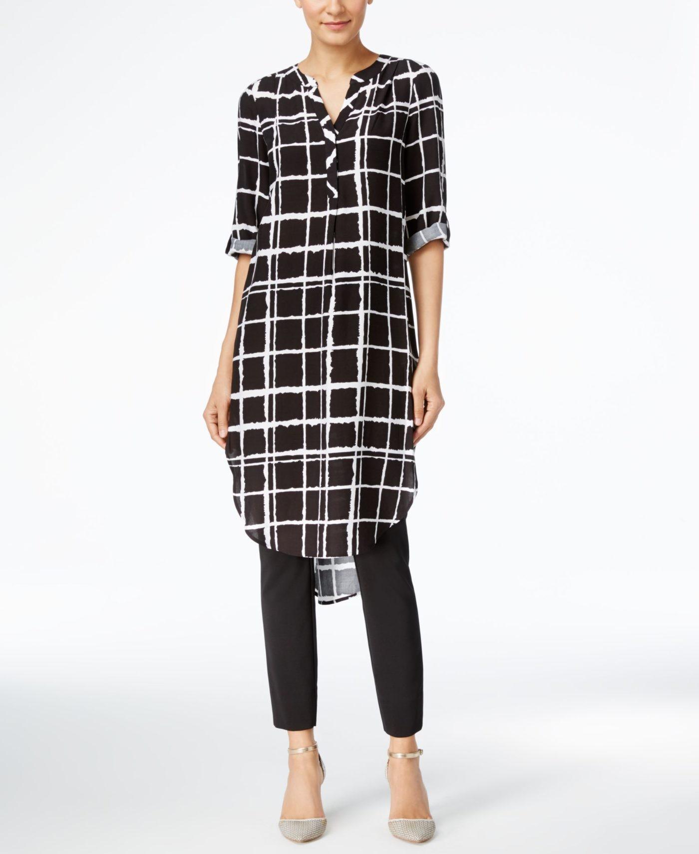 женские туники 2019 2020: длинная рубашка в клетку